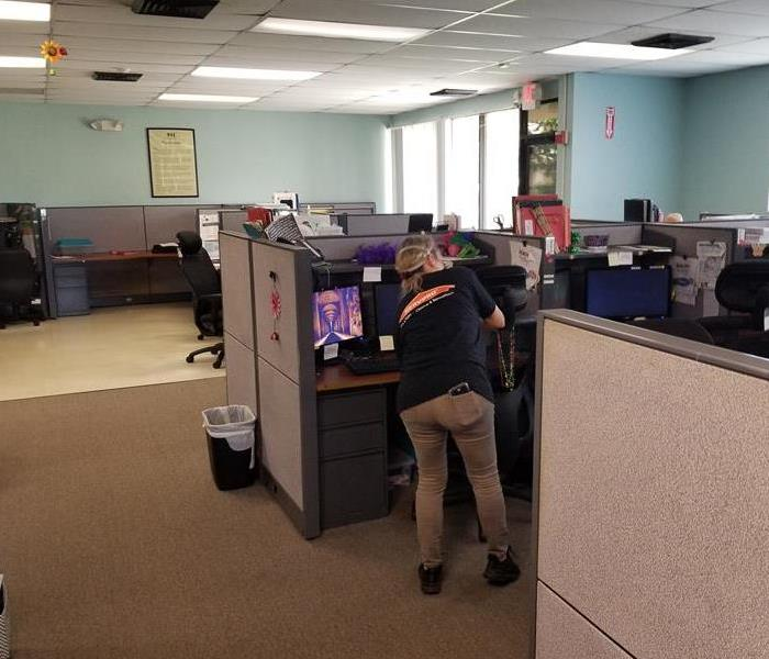 A female employee cleaning an office.