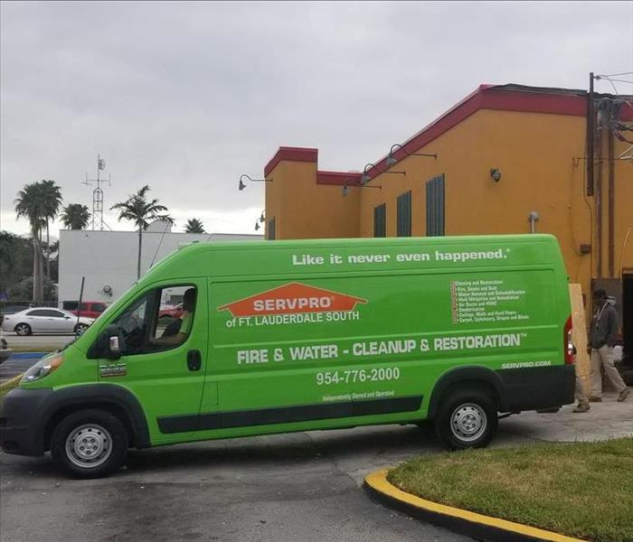 SERVPRO vehicle parked outside of business