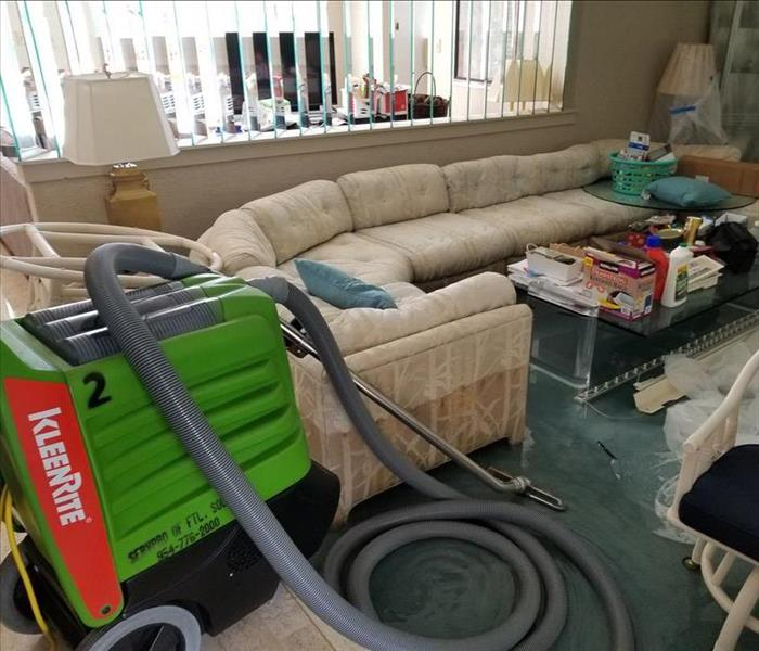 wet vac in a living room with an upholstered sofa
